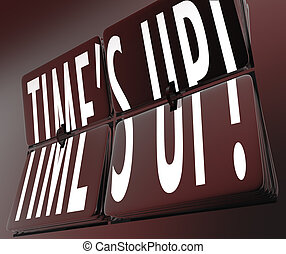 Time's Up Words Retro Clock Flipping Tiles Deadline