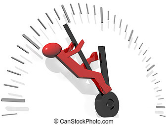 Timesaving - 3d rendering of a red man trying to save time