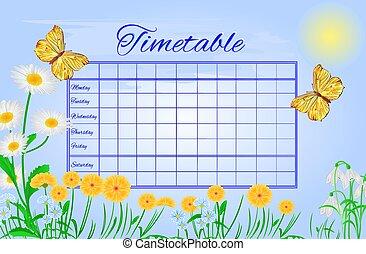 Timetable butterflies Gonepteryx rhamni vector.eps -...