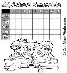 timetable, coloring, skole, 2, bog