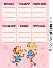 Timetable for school with cute cat-girls. Vector printable template for children.