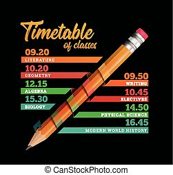 Timetable or timeline vector design template illustration...