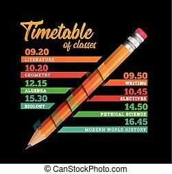 Timetable or timeline vector design template illustration with pencil on black background