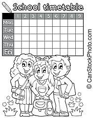 timetable, skole, coloring bog, 4