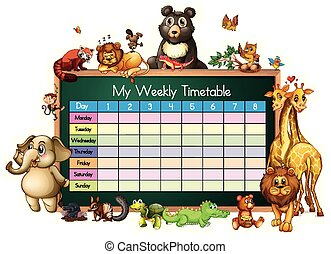 Timetable template with many animals on white background