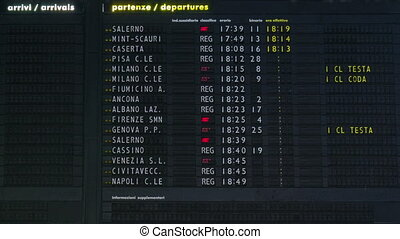 Timetable timelapse at Rome Termini Train Station