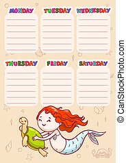 Timetable with days of weeks for school. Vector schedule for children with cartoon mermaid and turtle.