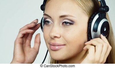 timide, sourire, écoute, blonds, music: