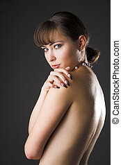 timidity girl - portrait of young beauty timidity girl