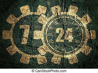 timing badge symbol 7, 24