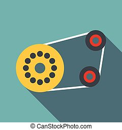 Timing belt icon, flat style - Timing belt icon. Flat...