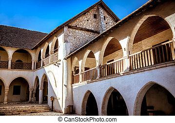 timios, limassol, mosteiro, stavros, pátio, interior, village., omodos, chipre, distric
