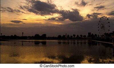 Timlaps Lake in Shymkent at sunset