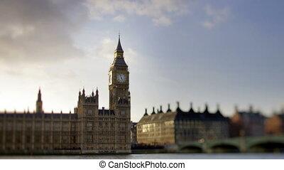 timlapse, 의, 빅 벤, 와..., 으회의집, 에서, 런던, 발사, 와, a, 경사, 와...,...