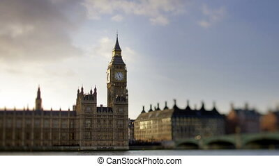 timlapse of big ben and houses of parliament in london shot with a tilt and shift lens