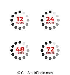 timmar, 12, 48, 24, färg, sätta, ikonen, 72