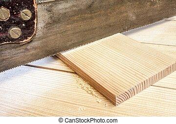timmerman, dennenboom, hand, slijpsel hout, zaag, plank