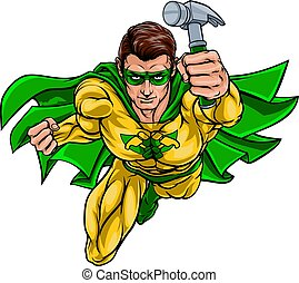 timmerman, fantastisch, handyman, superhero, vasthouden, hamer