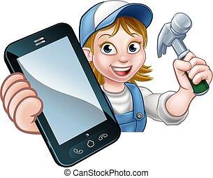timmerman, handyman, telefoon, concept