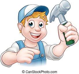 timmerman, handyman, vasthouden, hamer