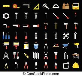 timmerman, handyman, werktuig, en, uitrusting, pictogram, set, plat, ontwerp