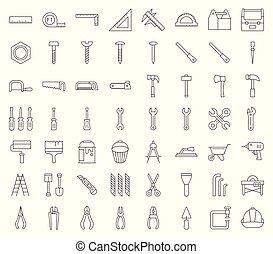 timmerman, handyman, werktuig, en, uitrusting, pictogram, set, schets, ontwerp