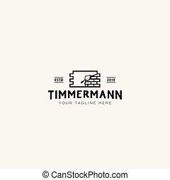 timmermann, brique, conception, classique, construction, logo