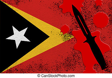 Timor Leste flag and black tactical knife in red blood. Concept for terror attack or military operations with lethal outcome. Dangerous melee weapon usage