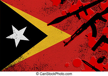Timor Leste flag and various weapons in red blood. Concept for terror attack or military operations with lethal outcome. Gun trafficking