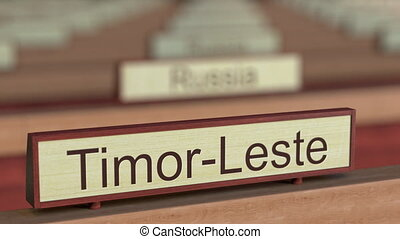 Timor-Leste name sign among different countries plaques at...