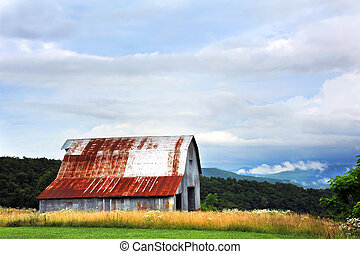 Tin Barn in Ozarks - Tin barn sits at the top of an Ozark ...