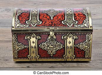 Tin box on wood