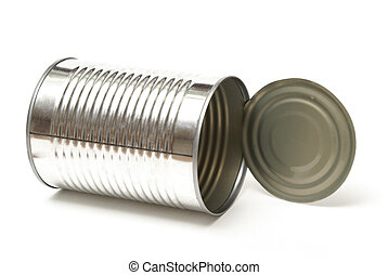 Tin Can - An isolated shot of an opened tin can read for...