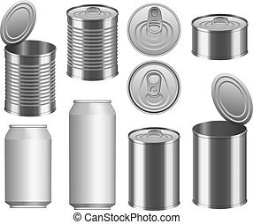Tin can food package mockup set, realistic style