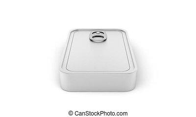 Tin can rotates on white background