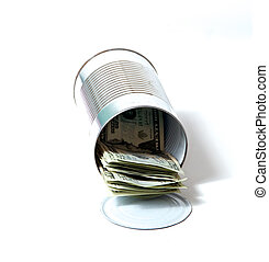 tin can full of money