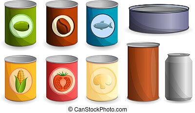 Tin can icon set, cartoon style