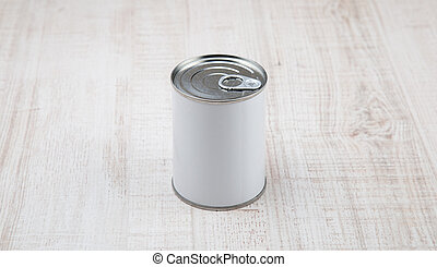 tin can on white wood background