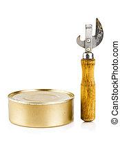 Tin can opener and food tin