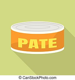 Tin can pate icon, flat style