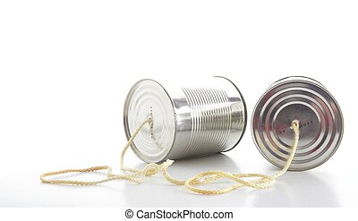 Tin can phone - closeup of a tin cans phone isolated on...
