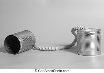 Tin can phone. Communication concept .