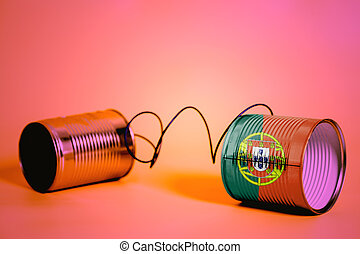 tin can phone with Portugal Flag .communication concept