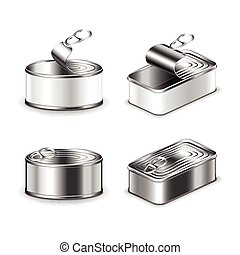 Tin can set isolated on white vector