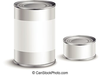Metallic tin can set with blank white labels for food conservation isolated vector illustration