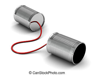 Tin can telephone with cord on grey, telephony concept.3d render.