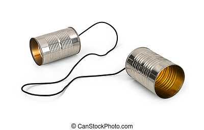 tin cans connected by string on white background