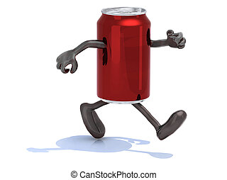 tin can with arms and legs running, 3d illustration