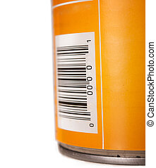 Generic food tin can with barcode isolated againstw hite background