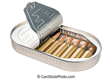 Tin can with bullets inside, 3D rendering